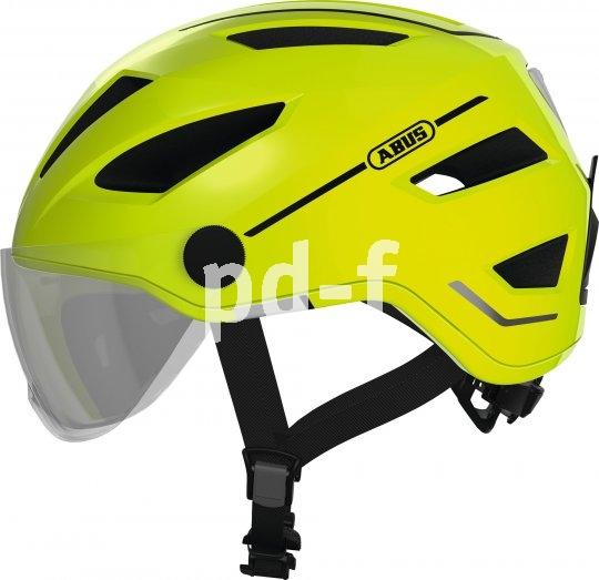 Mit der zunehmenden Nutzung von Pedelecs und schnellen S-Pedelecs kommen entsprechend angepasste Helme auf den Markt. Hier der Abus Pedelec 2.0 in der Version mit abnehmbarem Visier und mit Signalfarbe.