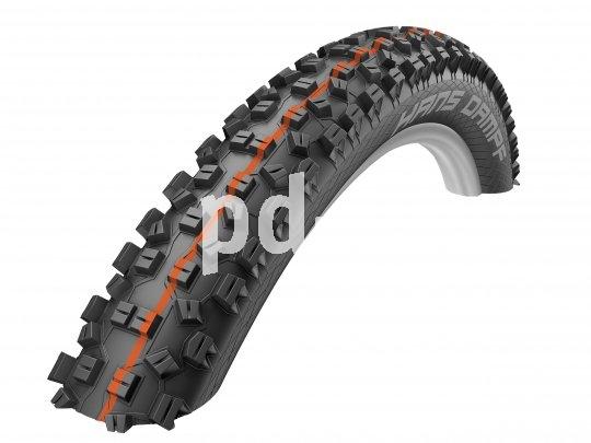 """Bei den aktuellen MTB-Reifen von Schwalbe stehen farbige Linien für die unterschiedlichen """"Addix""""- Gummimischungen von extrem griffig bis superschnell. Orange steht für """"Soft"""": sehr hoher Offroad-Grip, optimale Defektsicherheit."""