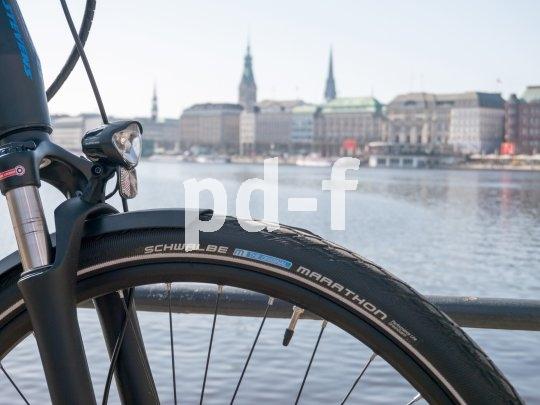 """Der """"Marathon""""-Reifen von Schwalbe ist durch seinen hohen Pannenschutz für Radreisen und Städtetrips geeignet."""