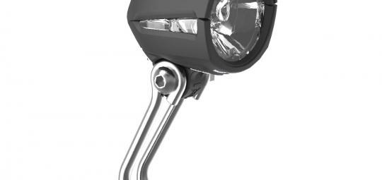 """Neu in der Angebotspalette von Busch & Müller ist das kompakte LED-Frontlicht """"Dopp"""". Es punktet mit einem günstigen Preis, einer klaren Hell-Dunkel-Grenze, seitlichem Lichtaustritt, ansteckbarem Rückstrahler und 30 Lux Leuchtkraft (die StVZO fordert 10)."""