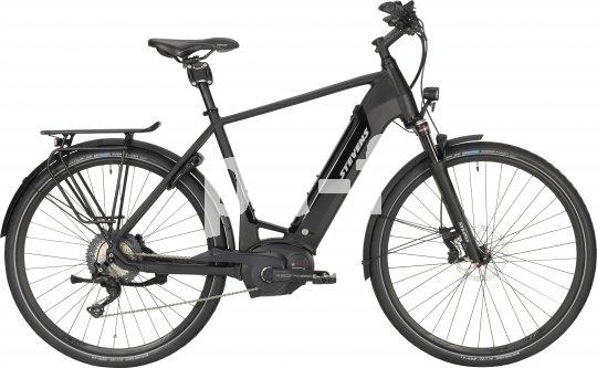 """Sportliche E-Power und eine hochwertige Komponentenausstattung wie z.B. Scheibenbremsen, Sattelfederung und Federgabel bietet das E-Citybike """"E-Triton Luxe"""" von Hersteller Stevens. Der Akku ist vorn im Rahmen integriert."""