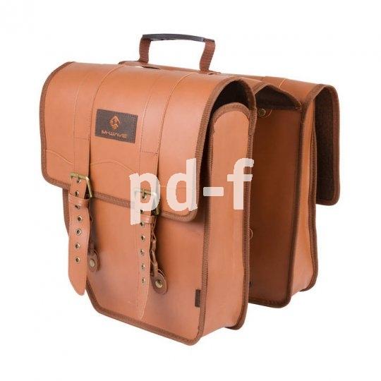 Klassische Vorbilder finden sich in dieser doppelseitigen Fahrradpacktasche wieder. Heute wird allerdings meist Kunststoff statt Leder verwendet.