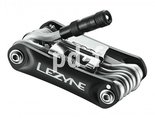 """Lezyne """"Rap 21 LED"""" (34,95 Euro):  div. Inbus- und Torxschlüssel, Schlitz- und Kreuzschlitzschraubendreher, Kettennieter (elffach-kompatibel), Speichenschlüssel, Expander für Scheibenbremsen, Reifenheber, Flaschenöffner, Aluminiumschalen, LED-Licht."""