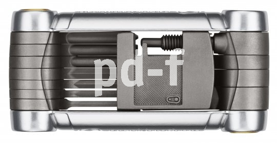 """Crank Brothers """"Pica Premium"""" (49,90 Euro): Kettennieter (zehnfach-kompatibel), diverse  Inbus-, Torx- und Speichenschlüssel,  Kreuzschlitzschraubendreher, Aluminiumrahmen."""