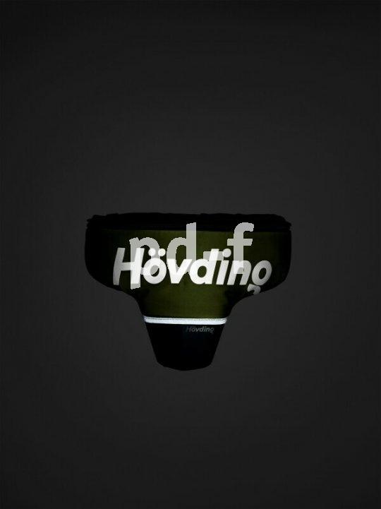 Der airbag-artig funktionierende Helm der Firma Hövding ist bei Dunkelheit auch im nicht ausgelösten Zustand dank Reflektionsbeschriftung im Scheinwerferlicht gut sichtbar.