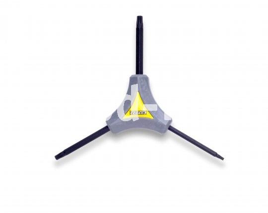 So ein Dreiarmschlüssel sorgt für guten Griff bei kluger Größenauswahl - hier ein Dreier-Torx (Innensechsrund) in den Größen T10, T15 und T25.