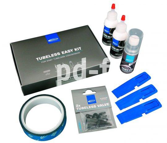 """Mit dem """"Tubeless Easy Kit"""" von Schwalbe gelingt die Umrüstung auf ein Schlauchlossystem problemlos. Alles, was man noch braucht, sind Tubelessreifen und geeignete Felgen bzw. Laufräder."""
