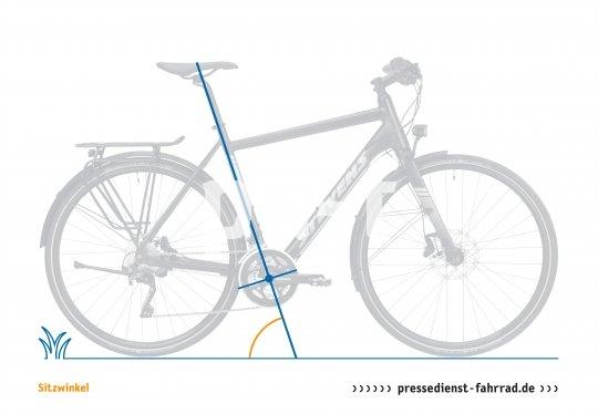 Der Sitzwinkel ist ein Wert aus dem Sitzdreieck, angegeben wird der Winkel der Sitzhöhe zur Horizontalen. Je flacher der Sitzwinkel, desto weiter hinter dem Tretlager sitzt der Radfahrer und desto mehr Gewicht verteilt sich auf das Hinterrad. Flache Sitzwinkel finden sich an Hollandrad und Cruiser. Je steiler der Winkel, desto weiter befindet sich der Sattel über dem Tretlager, desto mehr Körpergewicht setzt man zum Pedalieren ein. Man findet den steilen Winkel an Zeitfahrrädern und moderner MTB-Geometrie, wo er die mittige Position auf dem Rad begünstigt und Traktion beim Klettern liefert.