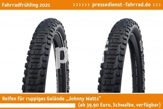 """Der Reifen speziell für SUV-Bikes: """"Johnny Watts"""" (ab 39,90, Schwalbe, verfügbar). Er bietet hohen Pannenschutz und sehr gute Rolleigenschaften.  **Weitere Bilderdateien zu dieser Neuheit:** https://tinyurl.com/5av6g7qw  **Weitere Neuheiten hier in der Übersicht:** https://tinyurl.com/3pmfjmmc  **Link zur Neuheit auf der Herstellerseite:** https://tinyurl.com/err4rue4"""