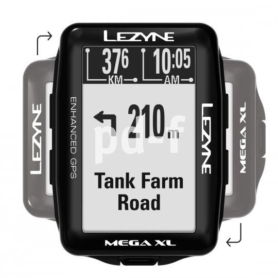 """Ein großes, hoch- und querformatig nutzbares Display unterstützt die Kartennavigationsfunktion des Lezyne-GPS-Flaggschiffs """"Mega XL GPS"""". Es empfängt sowohl GPS- als auch Glonass-Signale und ist mit Bluetooth und ANT+-Geräten kompatibel."""