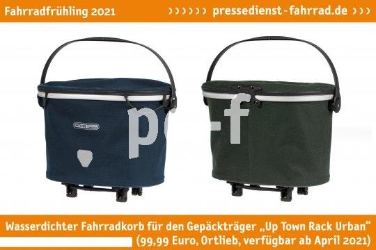 """Der wasserdichte Fahrradkorb """"Up Town Rack Urban"""" (99,99 Euro, Ortlieb, ab 1. April) für den Gepäckträger ist ein praktische Einkaufsbegleiter, der sich bequem mitnehmen und dank stabiler Füßchen sicher abstellen lässt.  **Weitere Bilderdateien zu dieser Neuheit:** https://tinyurl.com/69la585l   **Weitere Neuheiten hier in der Übersicht:** https://tinyurl.com/3pmfjmmc"""