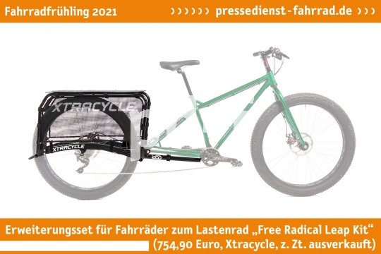 """Fast wie Zauberei ? das Erweiterungsset """"Free Radical Leap Kit"""" (754,90 Euro, Xtracycle über Voss Spezialrad, z. Zt. ausverkauft) verwandelt ein normales Fahrrad im Handumdrehen in ein Lastenfahrrad.  **Weitere Bilderdateien zu dieser Neuheit:** https://tinyurl.com/wqpkrkvd   **Weitere Neuheiten hier in der Übersicht:** https://tinyurl.com/3pmfjmmc  **Link zur Neuheit auf der Herstellerseite:** https://tinyurl.com/1qrp2lxs"""