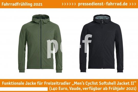 """Die atmungsaktive Alltagsjacke """"Men's Cyclist Softshell Jacket II"""" (140 Euro, Vaude, verfügbar ab 2021) ist speziell auf die Bedürfnisse von Freizeitradlern zugeschnitten, winddicht und wasserabweisend.  **Weitere Bilderdateien zu dieser Neuheit:** https://tinyurl.com/1magbqb5  **Weitere Neuheiten hier in der Übersicht:** https://tinyurl.com/3pmfjmmc  **Link zur Neuheit auf der Herstellerseite:** https://tinyurl.com/2cny7bqr"""