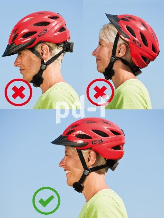Der Fahrradhelm ist keine Mütze! Leider wird er oft wie eine solche getragen, wobei entweder die Stirn oder der Hinterkopf ungeschützt ist.