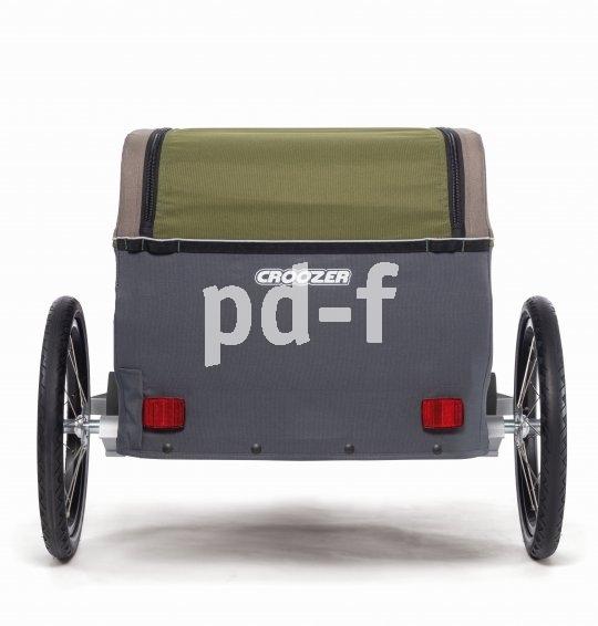 Der Fahrradanhänger Tuure von Hersteller Croozer ist faltbar und trägt bis zu 45 kg Last, luftgefedert. Er lässt sich auch zum Bollerwagen umrüsten und so zu Fuß nutzen.