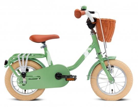 Prima für die ersten eigenen Radkilometer: ein tiefer Durchstieg, eine aufrechte Sitzposition, eine geringe Sitz- Pedalierhöhe. Dazu eine komplett verkleidete Kette und eine gut von Kinderhand greifbare Handbremse.