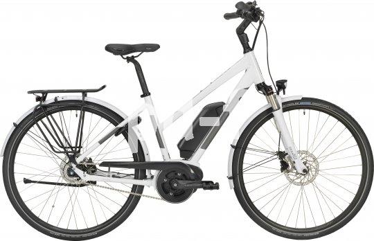 """Als City-Bike für die Dame ist das Modell """"E-Courier Lady"""" von Stevens konzipiert: abgesenktes Oberrohr zum besseren Durchstieg und mehr Raum für den Rock, Mittelmotor, Akkuposition zwischen Motor und Lenkkopf."""