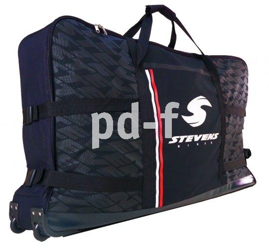 Ja, da passt ein Fahrrad rein. Und es lässt sich so ganz prima transportieren: Die kleinen Räder hinten machen aus der Fahrradtasche eine Art Rollkoffer, die gepolsterten Seiten sorgen für Schutz gegen Stöße.