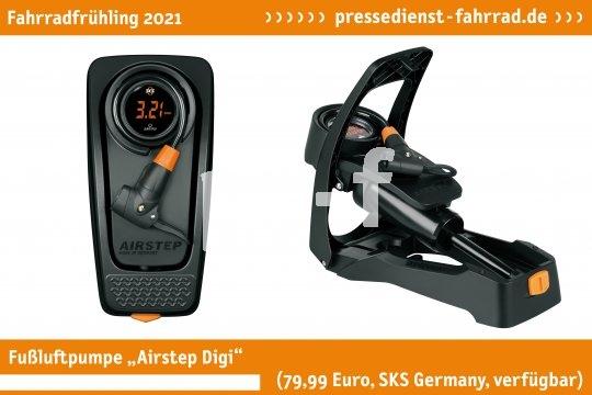 """Die bewährte Fußluftpumpe ?Airstep Digi"""" (79,99 Euro, SKS Germany, verfügbar) wurde digital überarbeitet und zeigt den Druck auf einem kontraststarken LED-Display an. Ihre Sensoren-Technologie ermöglicht eine hohe Messgenauigkeit.  **Weitere Bilderdateien zu dieser Neuheit:** https://tinyurl.com/2g57o5vq  **Weitere Neuheiten hier in der Übersicht:** https://tinyurl.com/3pmfjmmc  **Link zur Neuheit auf der Herstellerseite:** https://tinyurl.com/1ub34et8"""" (79,99 Euro, SKS Germany, verfügbar) wurde digital überarbeitet und zeigt den Druck auf einem kontraststarken LED-Display an. Ihre Sensoren-Technologie ermöglicht eine hohe Messgenauigkeit.  **Weitere Bilderdateien zu dieser Neuheit:** https://tinyurl.com/2g57o5vq  **Weitere Neuheiten hier in der Übersicht:** https://tinyurl.com/3pmfjmmc  **Link zur Neuheit auf der Herstellerseite:** https://tinyurl.com/1ub34et8"""