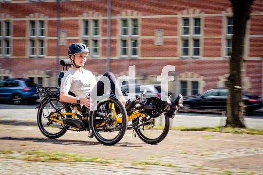 Das Aufkommen der elektrischen Unterstützung gibt allen etwas schwereren Fahrradkonzepten Rückenwind. So auch dem Liegedreirad; hier ein Modell von Hersteller HP Velotechnik.