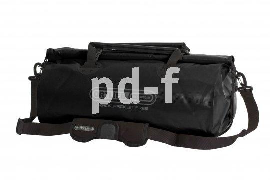 """Dieser wasserdichte Packsack mit Rollverschluss und Kompressionsgurten hat für den Transport per Hand auch einen gepolsterten Schultergurt. Über Steckverschlüsse lässt sich dieses """"Rackpack"""" von Taschenspezialist Ortlieb sogar mit anderen Radtaschen kombinieren."""
