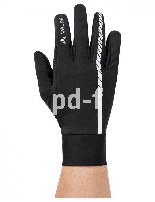 """Leicht stretchendes Softshell-Material nutzt Vaude in den neuen """"Strone Gloves"""". Reflexmaterial, Feuchtigkeitsschutz und Silikonprints für einen sicheren Griff komplettieren diesen Handschuh."""