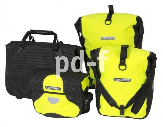 Stark leuchtendes Reflexgarn sorgt bei diesen Taschen für zusätzliche Sicherheit - in dezentem Schwarz oder kombiniert mit auffälligem Gelb.
