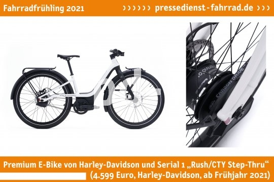 """E-Bike mit Gates-Riemen von Harley-Davidson und Serial 1 """"Rush/CTY Step-Thru"""" (4.599 Euro, Harley-Davidson, ab Frühjahr 2021)   **Weitere Bilderdateien zu dieser Neuheit:** https://tinyurl.com/1j2m10hv  **Weitere Neuheiten hier in der Übersicht:** https://tinyurl.com/3pmfjmmc  **Link zur Neuheit auf der Herstellerseite:** https://tinyurl.com/10ik4wzk"""