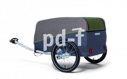 """Ein klassischer Lastenanhänger mit Bodenplatte und Federung ist das Modell """"Tuure"""" von Hersteller Croozer."""