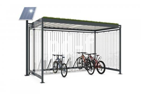 Die Firma Walter Solbach Metallbau bietet Firmen wie auch Kommunen begrünte und solarenergetisierte Überdachungen an, die etwa als Buswartehäuschen oder Fahrrad-Abstellanlagen nutzbar sind.