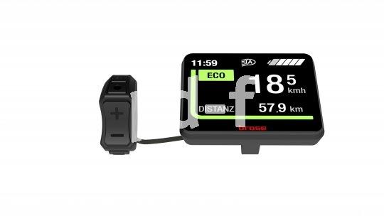 """Das Lenkerdisplay """"Central View"""" von E-Bike-Motorenhersteller Brose kommt im Team an den Lenker: mittig ein großes, gut ablesbares Display mit allen verfügbaren Daten, am Griff eine kleine gut erreichbare Bedieneinheit."""