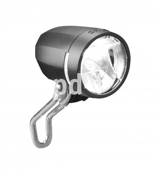 """Der LED-Frontscheinwerfer """"Myc"""" von Busch & Müller leuchtet die Fahrbahn mit 50 Lux aus (mindestens 10 sind von der StVZO vorgeschrieben) und ist für den Dynamobetrieb gedacht."""