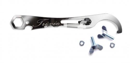 """Pedro's """"Trixie Chrome"""" (34,90 Euro): div. Ringschlüssel, Inbus (5 mm), Flaschenöffner, """"Lock Ring""""-Hakenschlüssel, Flügelschrauben zur Befestigung an Trinkflaschenhalterösen."""