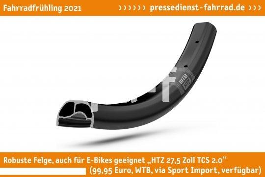 """Die stabile Felge """"WTBFelge HTZ 27,5 Zoll TCS 2.0"""" (99,95 Euro, WTB via Sport Import, verfügbar) ist dank ihrer einen Millimeter starken Wandstärke auch für E-Bikes und Einsätze im Gelände geeignet.  **Weitere Bilderdateien zu dieser Neuheit:** https://tinyurl.com/f6oaupxz  **Weitere Neuheiten hier in der Übersicht:** https://tinyurl.com/3pmfjmmc  **Link zur Neuheit auf der Herstellerseite:** https://tinyurl.com/yabx5v6m"""