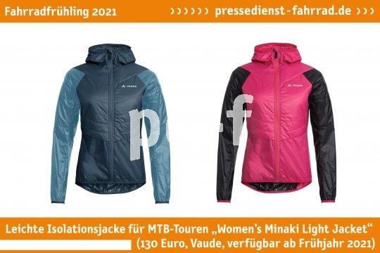 """Die leichte Jacke für MTB-Touren """"Women's Minaki Light Jacket"""" (130 Euro, Vaude, verfügbar ab Frühjahr 2021) passt in den Rucksack und bietet dank Wattierung dem kühlen Fahrtwind die Stirn.  **Weitere Bilderdateien zu dieser Neuheit:** https://tinyurl.com/o6qytlr5  **Weitere Neuheiten hier in der Übersicht:** https://tinyurl.com/3pmfjmmc  **Link zur Neuheit auf der Herstellerseite:** https://tinyurl.com/3f4gdc7y"""
