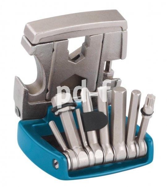 """Knog """"20 Tool"""" (34,90 Euro): div. Inbus-, Speichen- und Schraubenschlüssel, Kreuzschlitzschraubendreher, Torxschlüssel (T25), Kettennieter, Flaschenöffner, Aluminiumbox."""