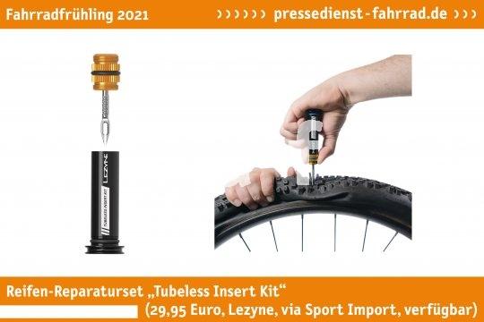 """Das Reifen-Reparaturset """"Tubeless Insert Kit"""" (29,95 Euro, Lezyne via Sport Import, verfügbar) ist die Reperatur von schlauchlose Reifen konzipiert. Das Set lässt sich im Fahrradlenker verstauen und ist schnell einsatzbereit.   **Weitere Bilderdateien zu dieser Neuheit:** https://tinyurl.com/4jvrgs8f  **Weitere Neuheiten hier in der Übersicht:** https://tinyurl.com/3pmfjmmc  **Link zur Neuheit auf der Herstellerseite:** https://tinyurl.com/1lt4o7gw"""