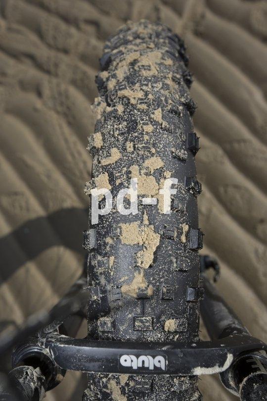 Der Fatbike-Reifen schwebt geradezu über feuchten Sand. Wie man sieht, setzt sich dabei das Profil nicht zu.