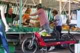 Ein Lastenrad-Vorteil von vielen: Der Einkauf auf dem Markt lässt sich direkt verladen, ohne dass man ihn vorher weit herumtragen muss.