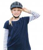 Zwei Finger passen zwischen Augenbraue und Helmunterkante: prima. Und die Ohren sind auch frei. Wenn jetzt noch nichts drückt und der Helm bei Bewegung nicht wackelt kann´s losgehen.