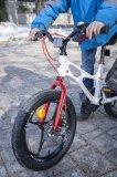 """Zwar noch ein 16-Zoll-Spielrad für Kinder ab etwa vier Jahre - aber schon mit Scheibenbremsen wie Mamas Mountainbike. Das """"Space Shuttle"""" von Royal Baby will für einen fließenden Übergang vom Radfahrenlernen zum ersten Radsport sorgen."""