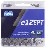 """Speziell für die höhere Beanspruchung an E-Bikes bietet Hersteller KMC die Kette """"e12EPT"""" an. Sie ist an kritischen Stellen verstärkt und generell mit einer speziellen Beschichtung versehen."""