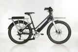 """Das E-Lastenbike """"Modular"""" von Hersteller Ahooga hat einen Hinterradnabenmotor und führt den Akku im Unterrohr. Die weitere Ausstattung ist variabel wählbar. Hier ein Modell mit tiefem Einstieg."""